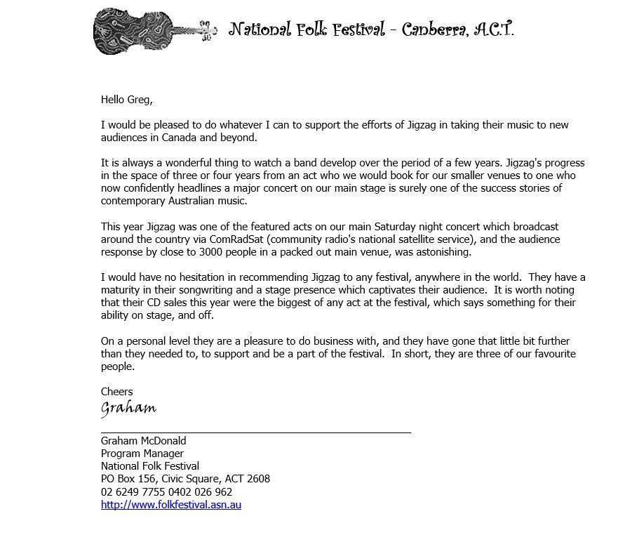 National Folk Festival Referral